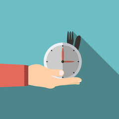 Hand holding watch in flat design on background