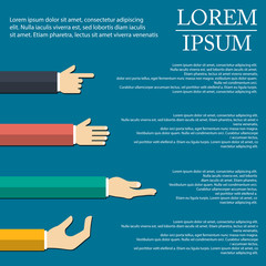 illustration of hand infographic in flat design on background