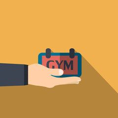 Hand holding gym banner  in flat design on background
