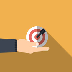 Hand holding target in flat design on background