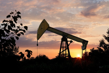 pumpjack pumps oil at summer sunset
