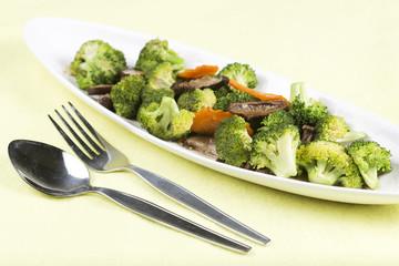 Stir fried Three vegetables (broccoli, mushroom, carrot) on the