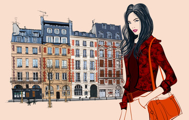 Young asian woman visiting Paris