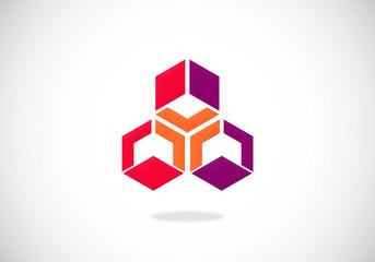 polygon box abstract vector logo