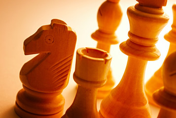 Close-up of wooden vintage chess pieces