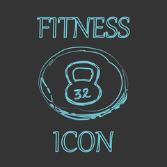 Fitness and Sport vector icons in doodle design