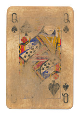ancient  rubbed playing card queen of spades paper background