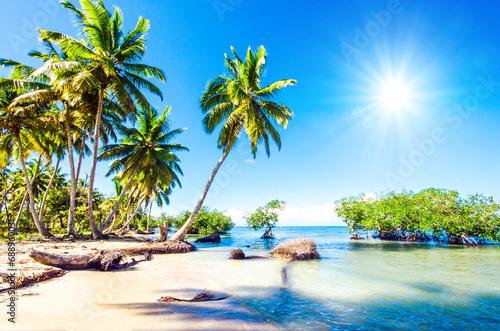 Spoed canvasdoek 2cm dik Caraïben Traumurlaub an einsamem Karibischen Strand :)
