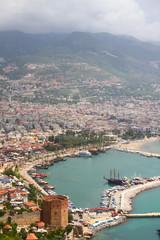 Alanya city, harbor and Kizil Kule tower