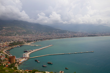 Alanya city, harbor and Kizil Kule tower from above