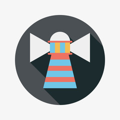 Lighthouse flat icon with long shadow