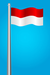 vector Flag of Indonesia at pole