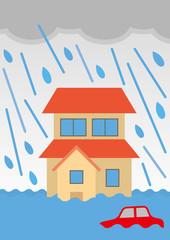 浸水した家