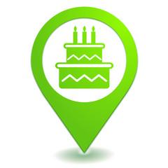 anniversaire sur symbole localisation vert