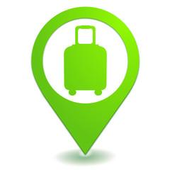 bagage sur symbole localisation vert