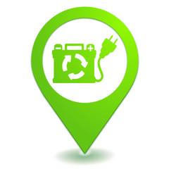 batterie rechargeable sur symbole localisation vert