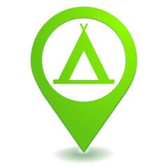 camping sur symbole localisation vert