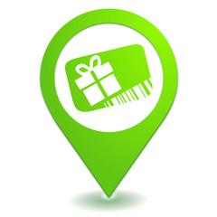 carte cadeau sur symbole localisation vert