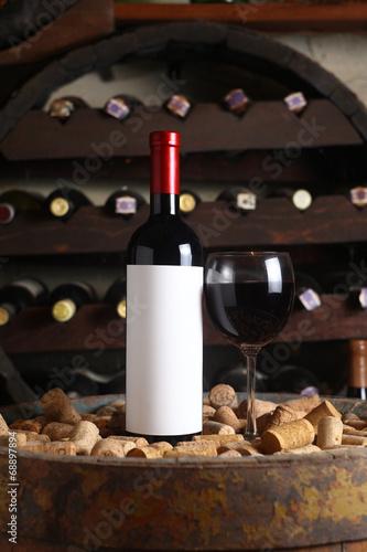 Red wine in wine cellar © hiddenhallow