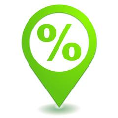 pourcentage sur symbole localisation vert