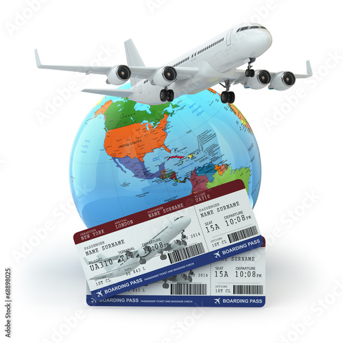 canvas print picture Travel concept. Airplane, earth and tickets.