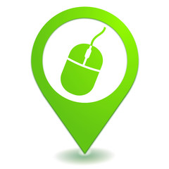 souris sur symbole localisation vert