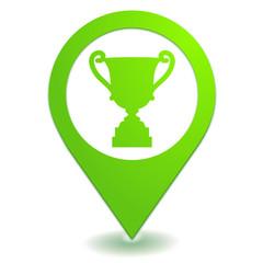 trophée victoire sur symbole localisation vert