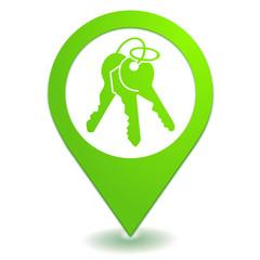 trousseau de clefs sur symbole localisation vert