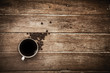 Black coffee on a wooden table