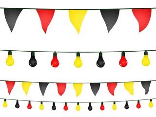 Schwarze, rote, gelbe Girlanden