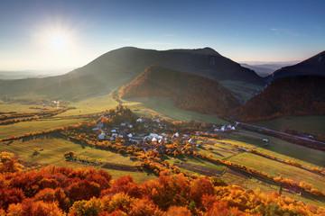 Autumn village in Slovakia countryside