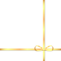 Gold bow for decorating gifts isolated on white background