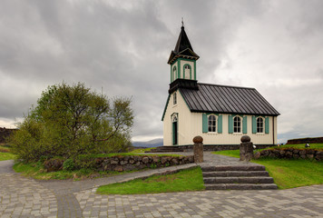 Beauty wooden Pingvallkirkja church - Iceland