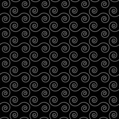 Seamless pattern with white  spiral shapes on a black background