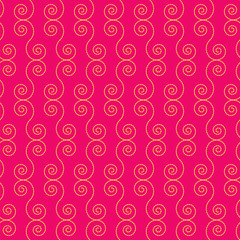 Seamless pattern with yellow spiral shapes on a crimson backgrou