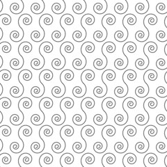 Seamless pattern with black spiral shapes on a white background