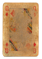 ancient rubbed playing card queen of diamonds paper background