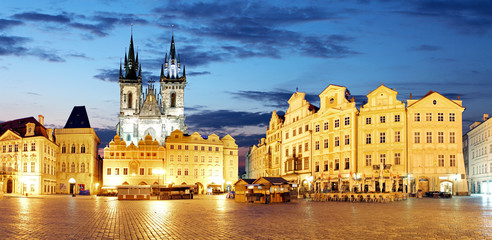Prague Old town square at night - panorama