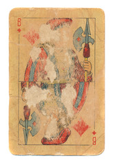 ancient  rubbed playing card jack of diamonds paper background