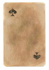 empty rubbed ace of spades playing card paper background
