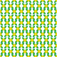 Seamless pattern with yellow flowers and green leaves on a white