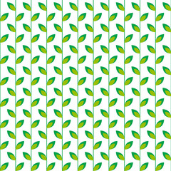 Seamless pattern with  green leaves on a white background