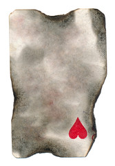 burnt  playing card paper with one heart symbol background