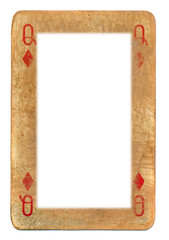 frame from  playing card queen of diamonds isolated on white