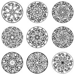 Векторный набор, черный,круг