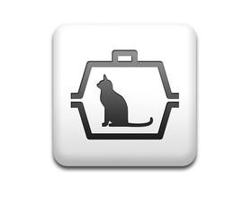 Boton cuadrado blanco 3D simbolo transporte de gatos
