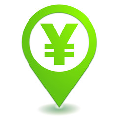 yen sur symbole localisation vert