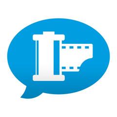 Etiqueta tipo app azul comentario simbolo carrete fotografico