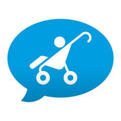 Etiqueta tipo app azul comentario simbolo cochecito infantil