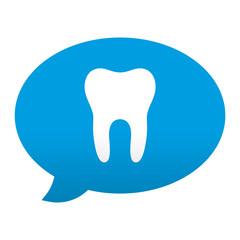 Etiqueta tipo app azul comentario simbolo diente